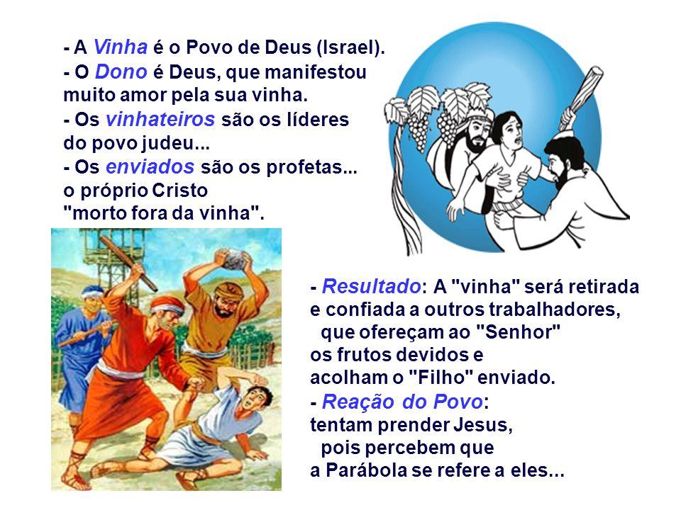 - A Vinha é o Povo de Deus (Israel).