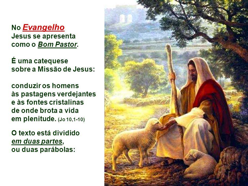 No Evangelho Jesus se apresenta. como o Bom Pastor. É uma catequese. sobre a Missão de Jesus: conduzir os homens.