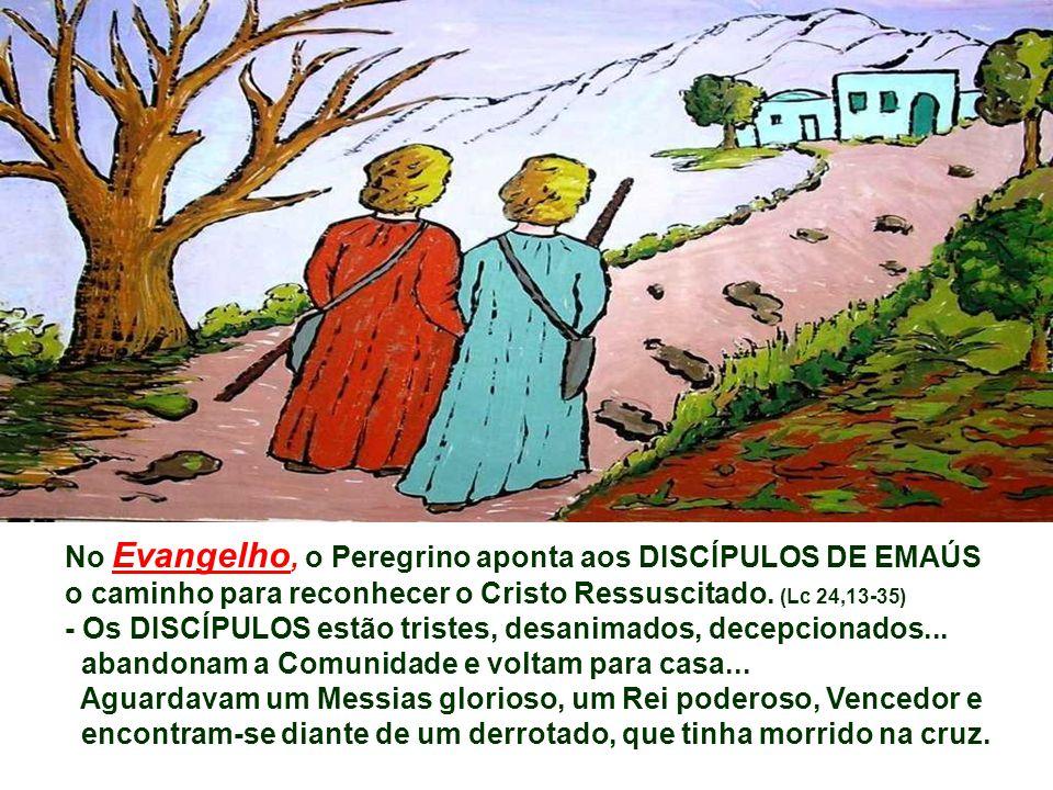 No Evangelho, o Peregrino aponta aos DISCÍPULOS DE EMAÚS