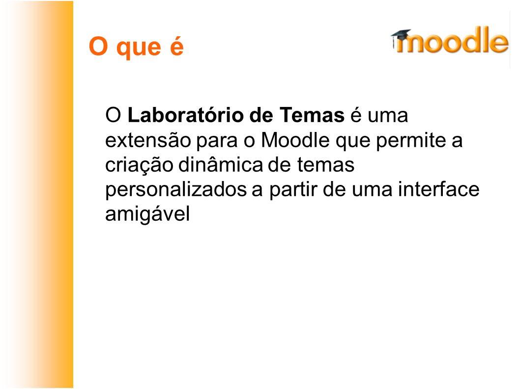O que é O Laboratório de Temas é uma extensão para o Moodle que permite a criação dinâmica de temas personalizados a partir de uma interface amigável.