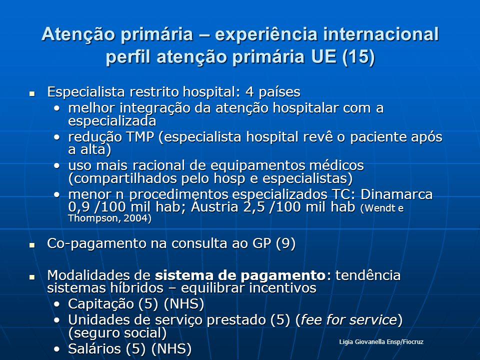 Atenção primária – experiência internacional perfil atenção primária UE (15)
