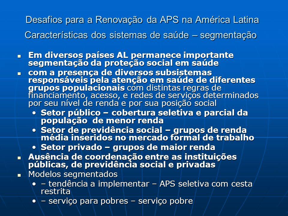 Desafios para a Renovação da APS na América Latina Características dos sistemas de saúde – segmentação