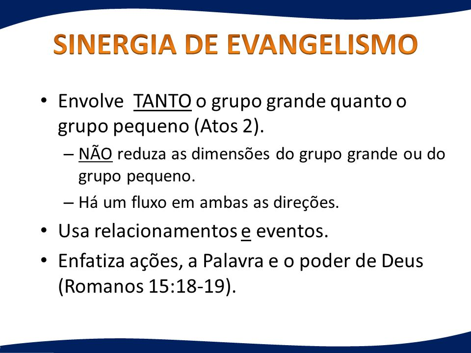 SINERGIA DE EVANGELISMO