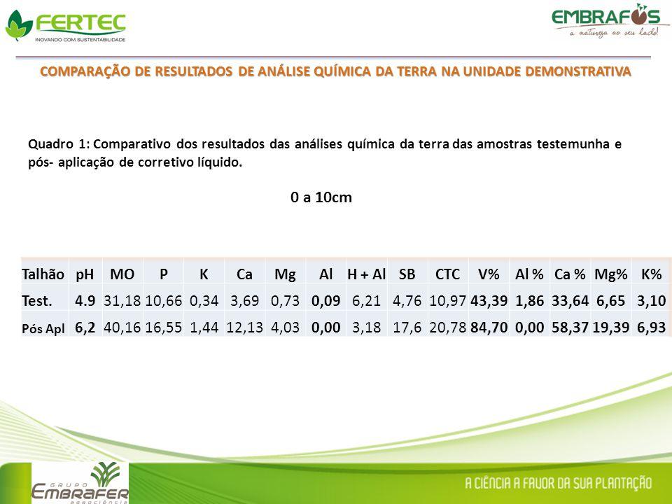 0 a 10cm Talhão pH MO P K Ca Mg Al H + Al SB CTC V% Al % Ca % Mg% K%