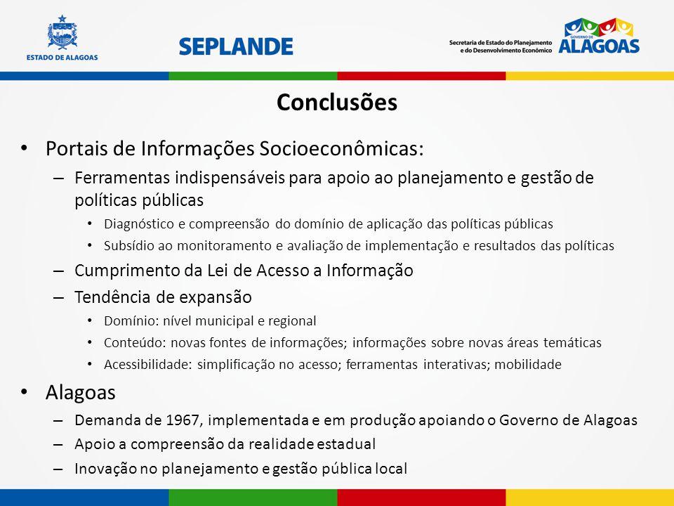 Conclusões Portais de Informações Socioeconômicas: Alagoas