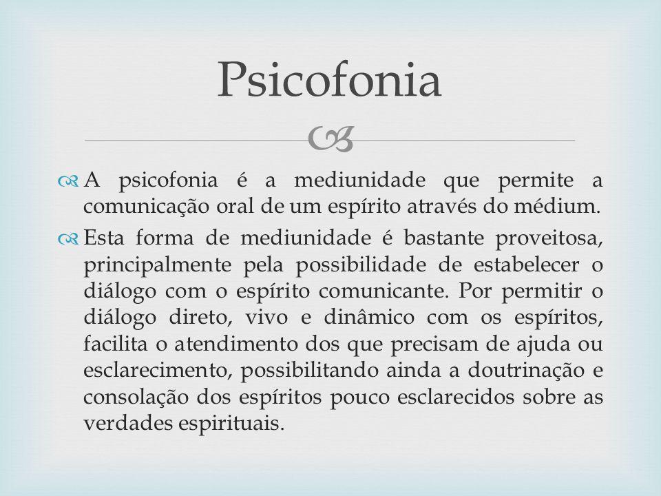 Psicofonia A psicofonia é a mediunidade que permite a comunicação oral de um espírito através do médium.