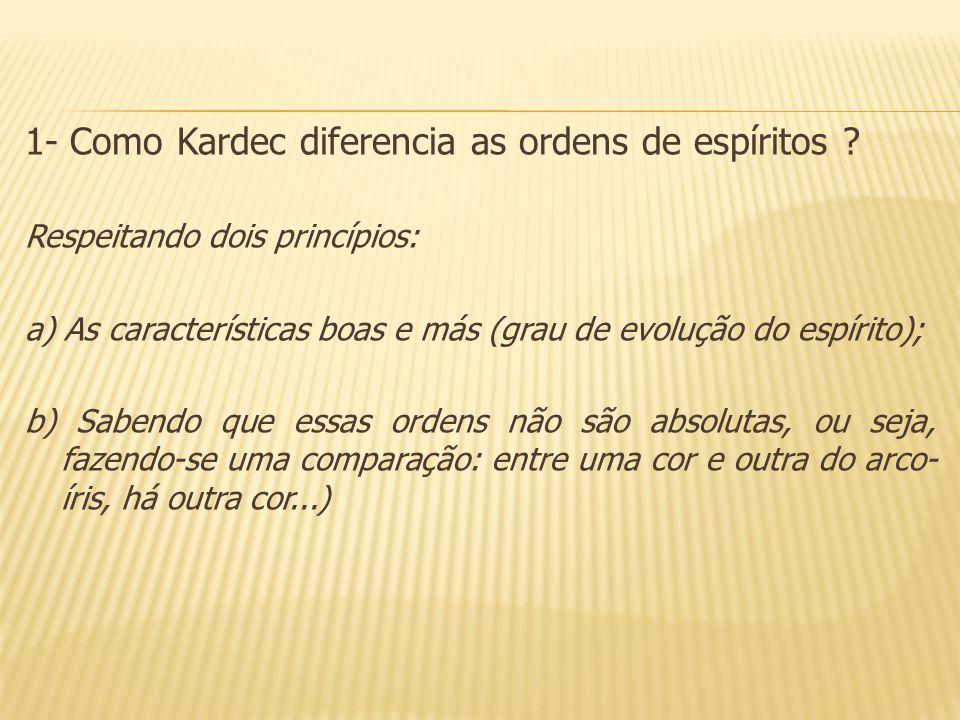 1- Como Kardec diferencia as ordens de espíritos