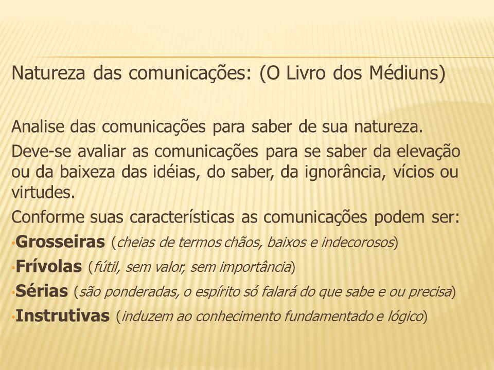 Natureza das comunicações: (O Livro dos Médiuns)