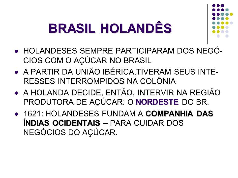 BRASIL HOLANDÊS HOLANDESES SEMPRE PARTICIPARAM DOS NEGÓ-CIOS COM O AÇÚCAR NO BRASIL.