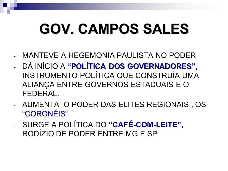 GOV. CAMPOS SALES MANTEVE A HEGEMONIA PAULISTA NO PODER