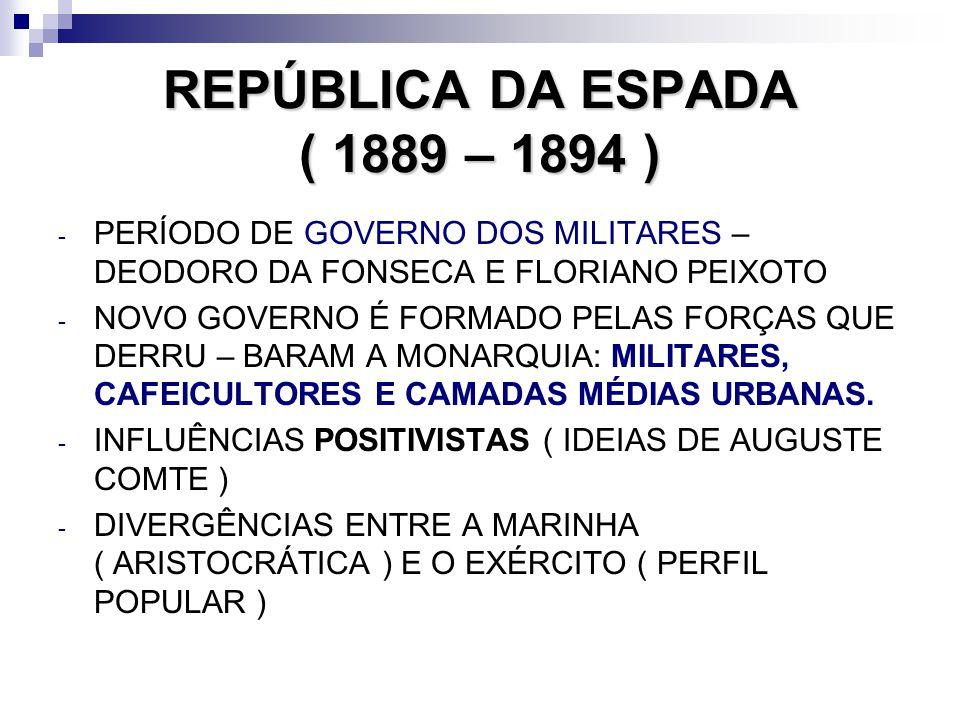 REPÚBLICA DA ESPADA ( 1889 – 1894 )