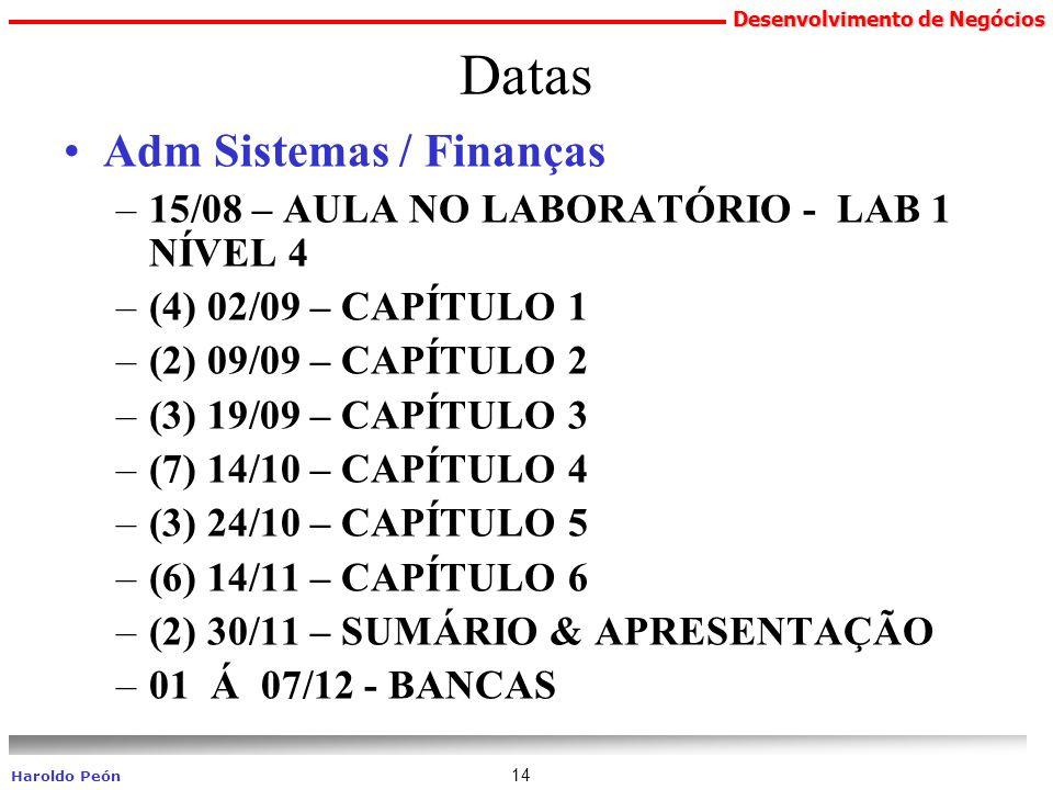 Datas Adm Sistemas / Finanças