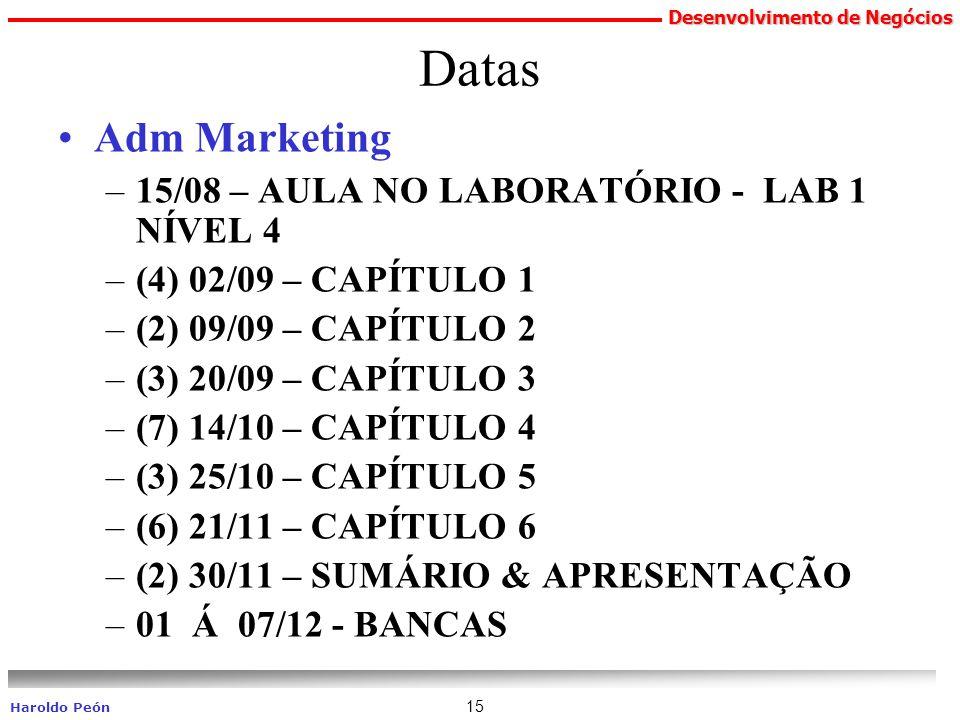 Datas Adm Marketing 15/08 – AULA NO LABORATÓRIO - LAB 1 NÍVEL 4