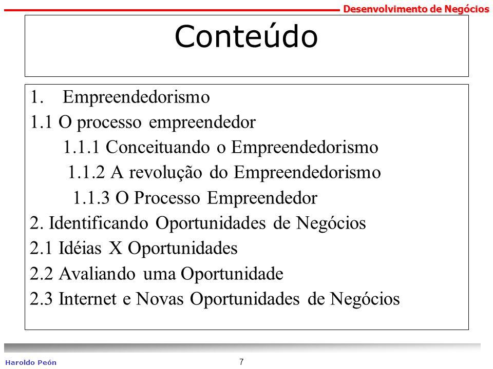 Conteúdo Empreendedorismo 1.1 O processo empreendedor