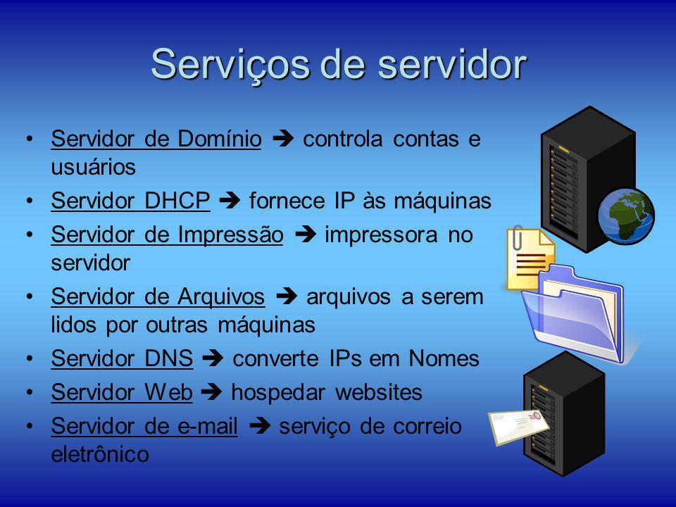 Serviços de servidor Servidor de Domínio  controla contas e usuários