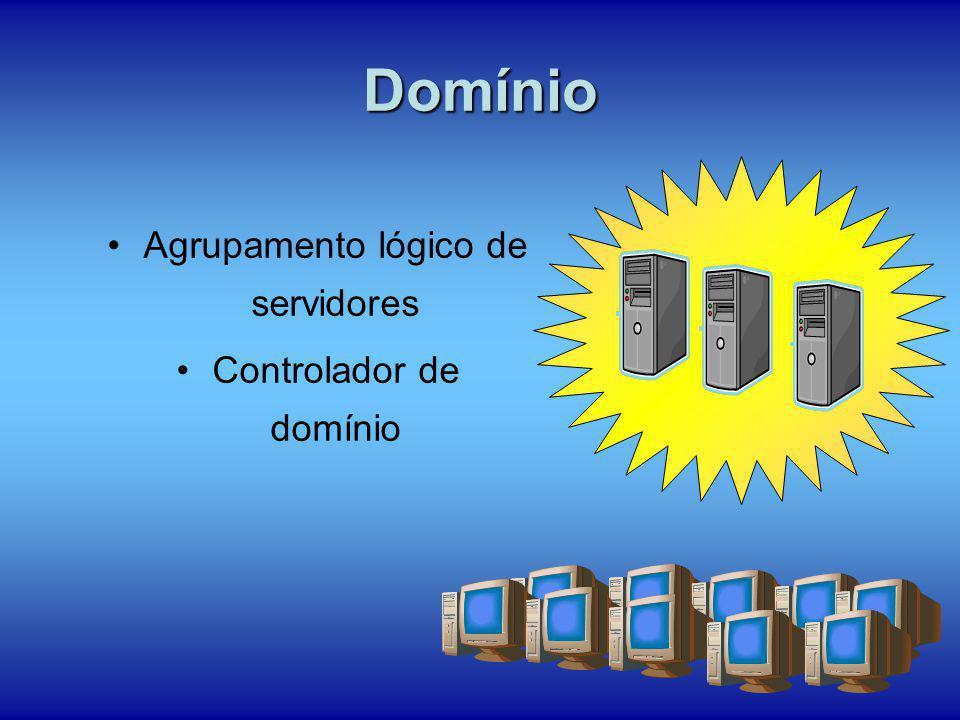 Domínio Agrupamento lógico de servidores Controlador de domínio