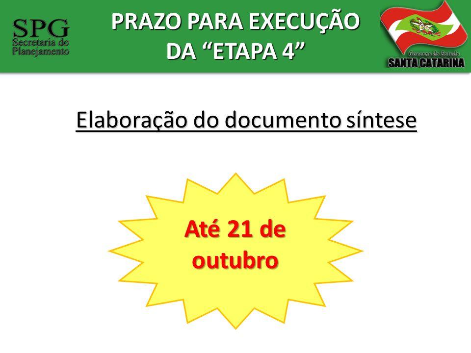 PRAZO PARA EXECUÇÃO DA ETAPA 4