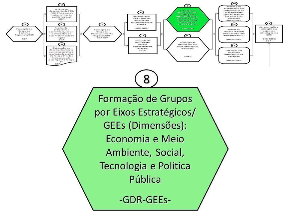 8 Formação de Grupos por Eixos Estratégicos/ GEEs (Dimensões): Economia e Meio Ambiente, Social, Tecnologia e Política Pública.