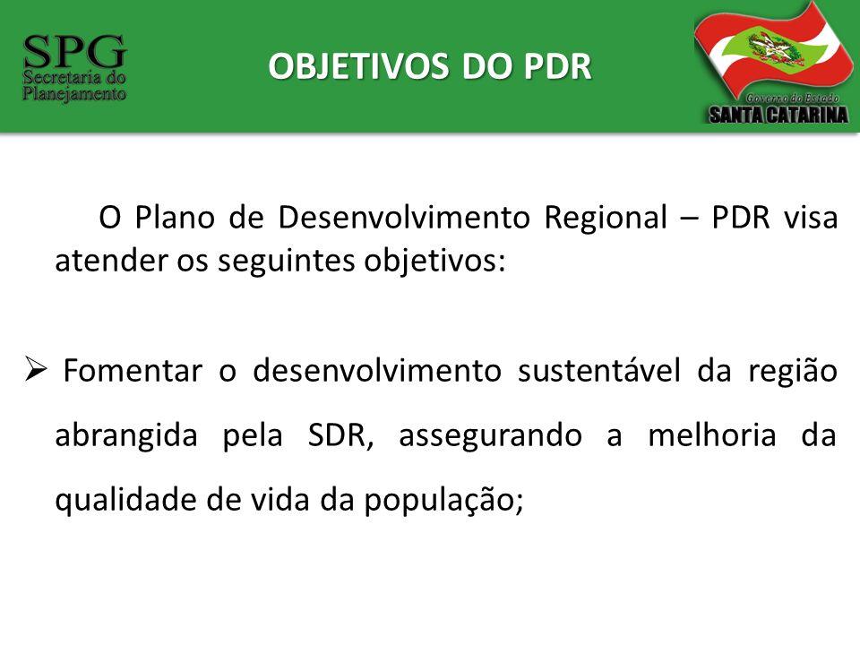 OBJETIVOS DO PDR O Plano de Desenvolvimento Regional – PDR visa atender os seguintes objetivos: