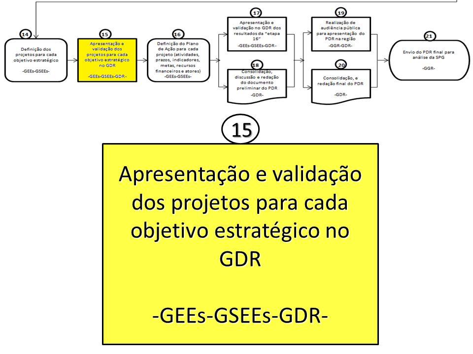 15 Apresentação e validação dos projetos para cada objetivo estratégico no GDR -GEEs-GSEEs-GDR-