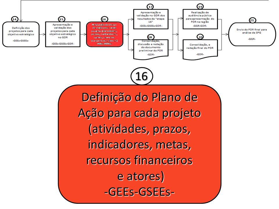 16 Definição do Plano de Ação para cada projeto (atividades, prazos, indicadores, metas, recursos financeiros.