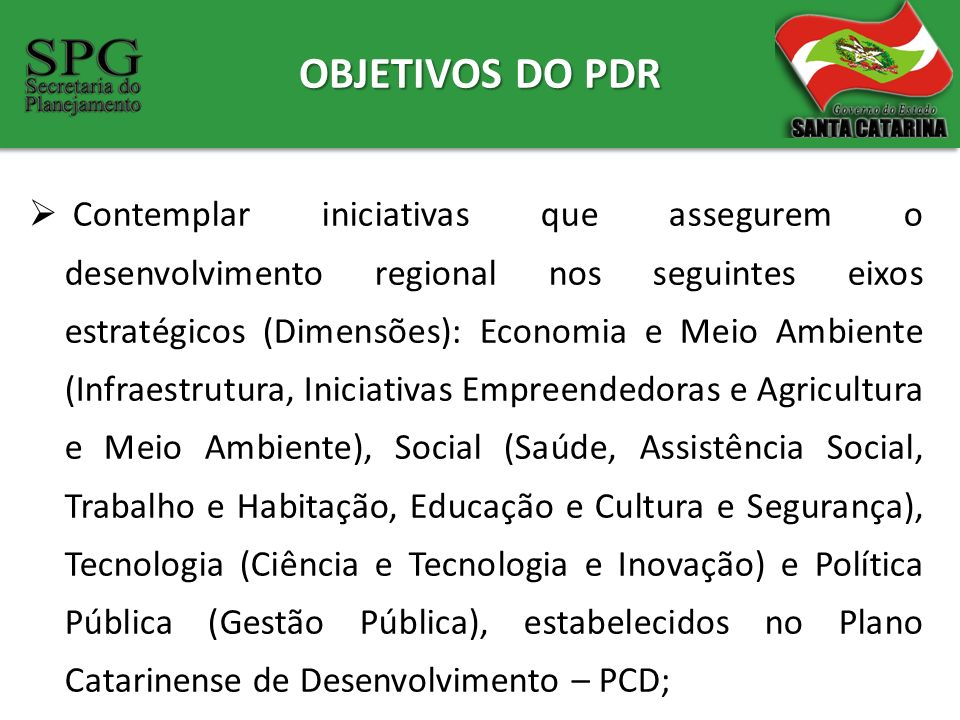 OBJETIVOS DO PDR