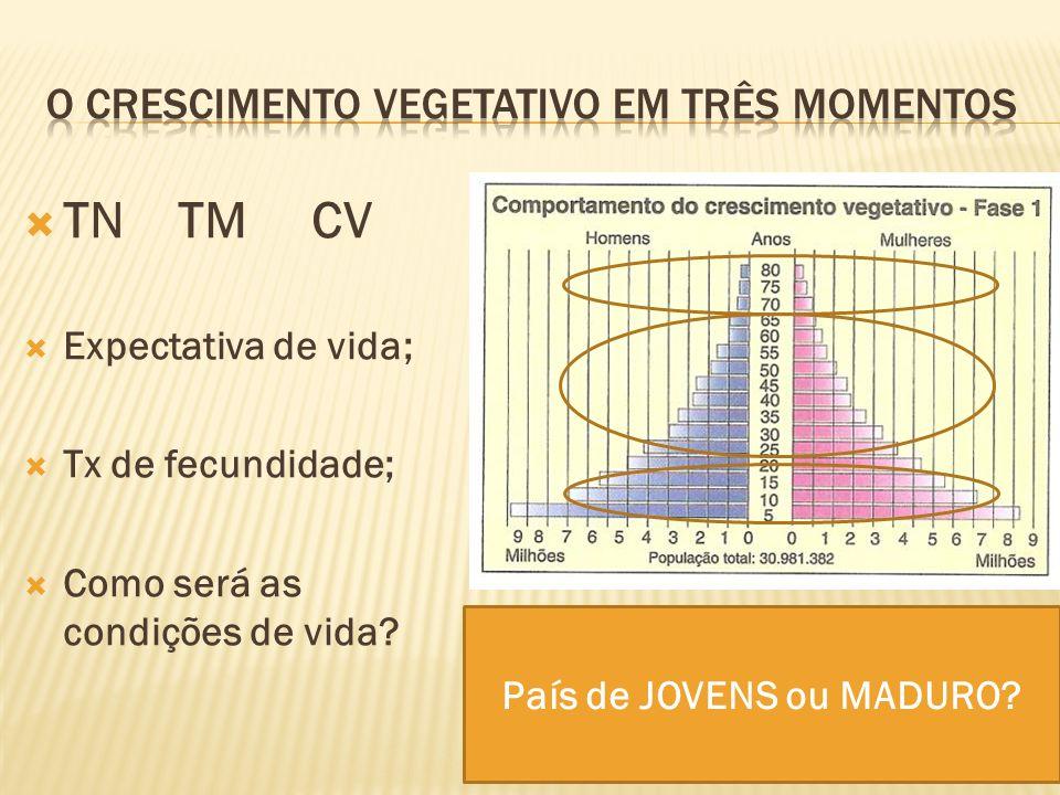 O crescimento vegetativo em três momentos