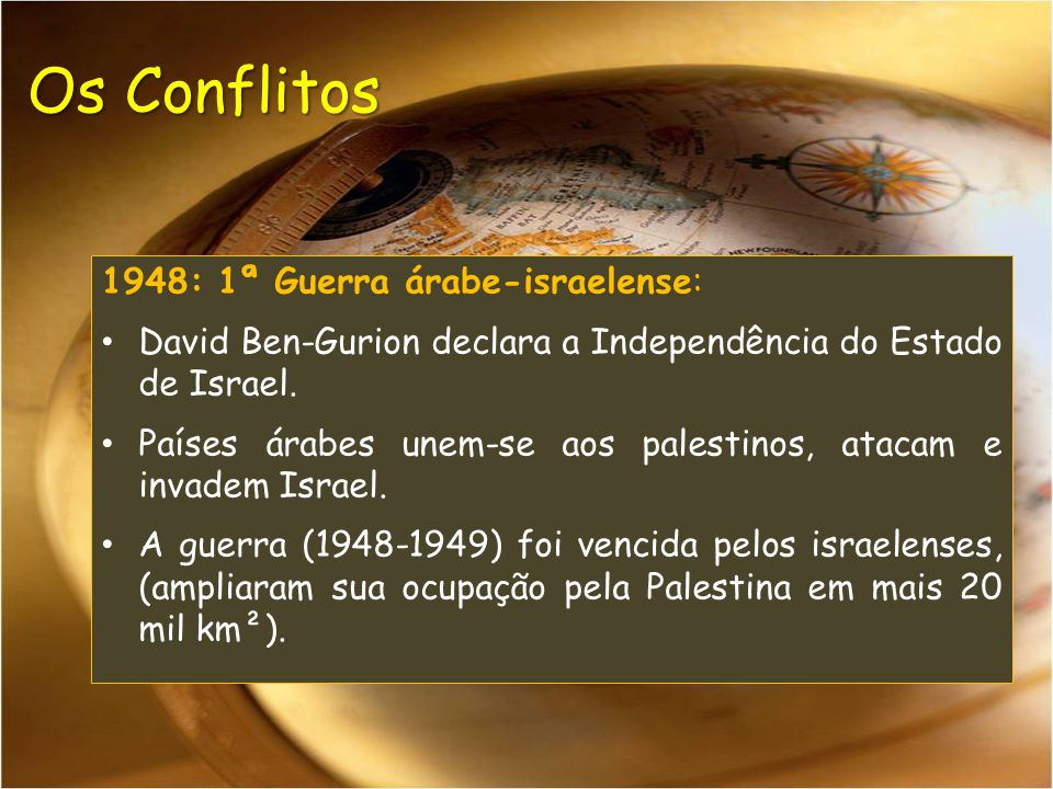Os Conflitos 1948: 1ª Guerra árabe-israelense: