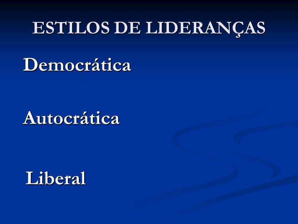 ESTILOS DE LIDERANÇAS Democrática Autocrática Liberal