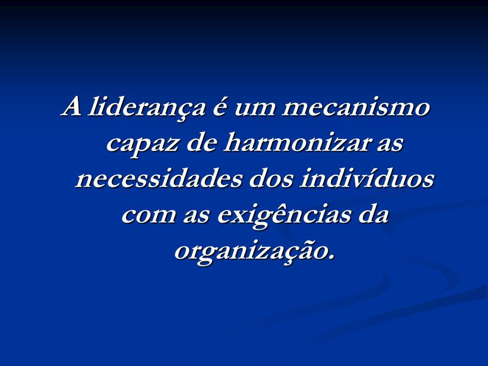 A liderança é um mecanismo capaz de harmonizar as necessidades dos indivíduos com as exigências da organização.