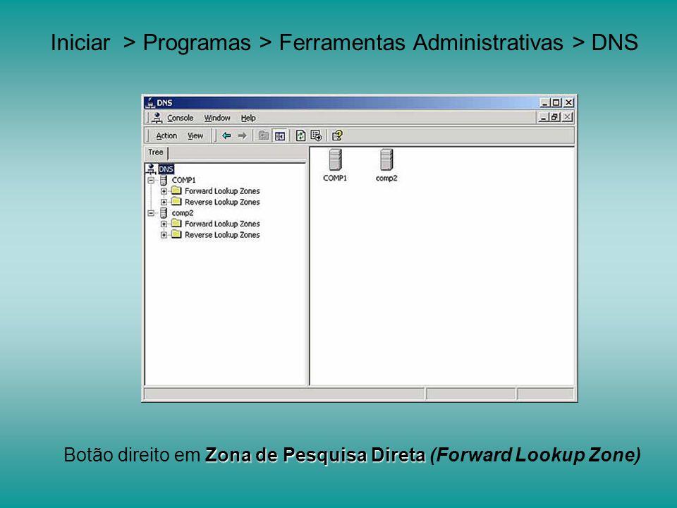 Iniciar > Programas > Ferramentas Administrativas > DNS