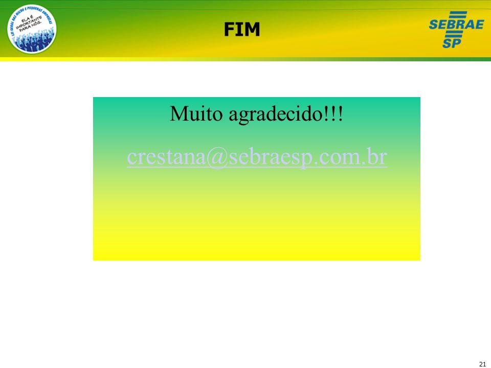 FIM Muito agradecido!!! crestana@sebraesp.com.br