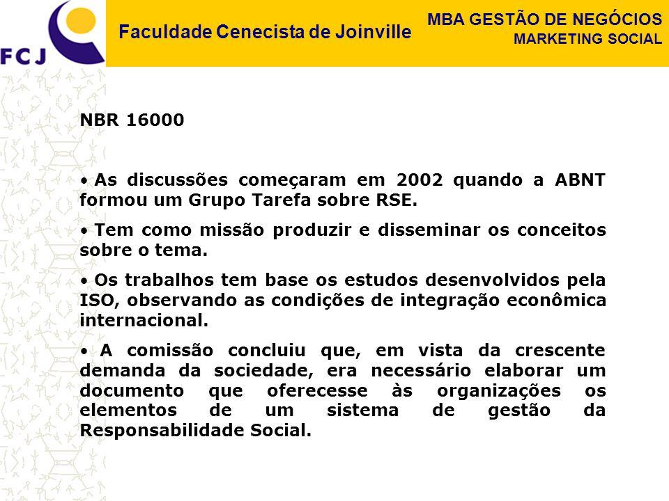 NBR 16000 As discussões começaram em 2002 quando a ABNT formou um Grupo Tarefa sobre RSE.