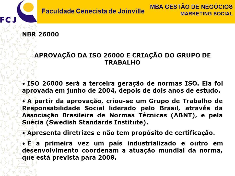APROVAÇÃO DA ISO 26000 E CRIAÇÃO DO GRUPO DE TRABALHO
