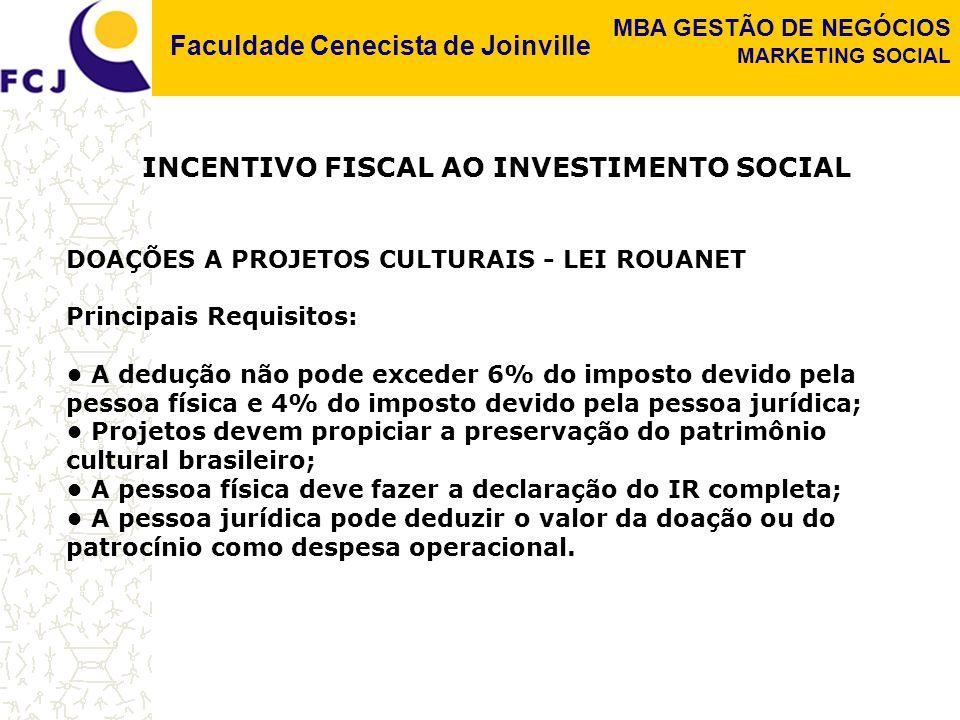 INCENTIVO FISCAL AO INVESTIMENTO SOCIAL