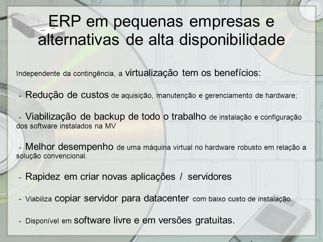 ERP em pequenas empresas e alternativas de alta disponibilidade