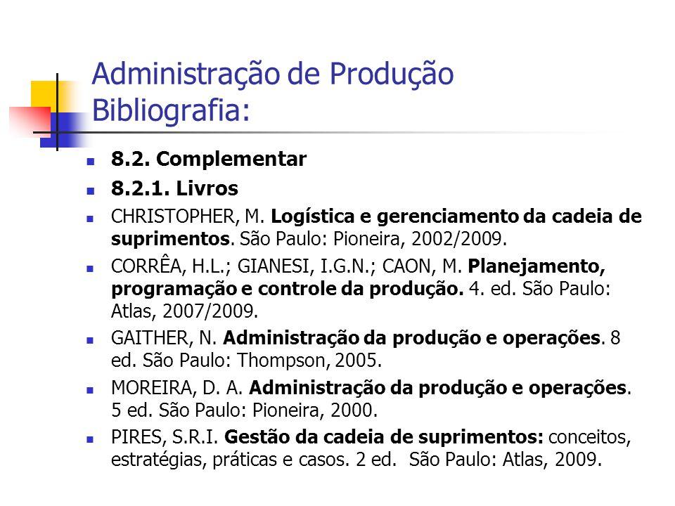 Administração de Produção Bibliografia: