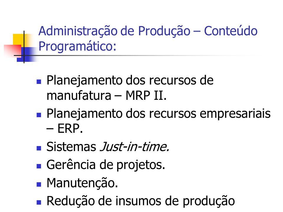 Administração de Produção – Conteúdo Programático: