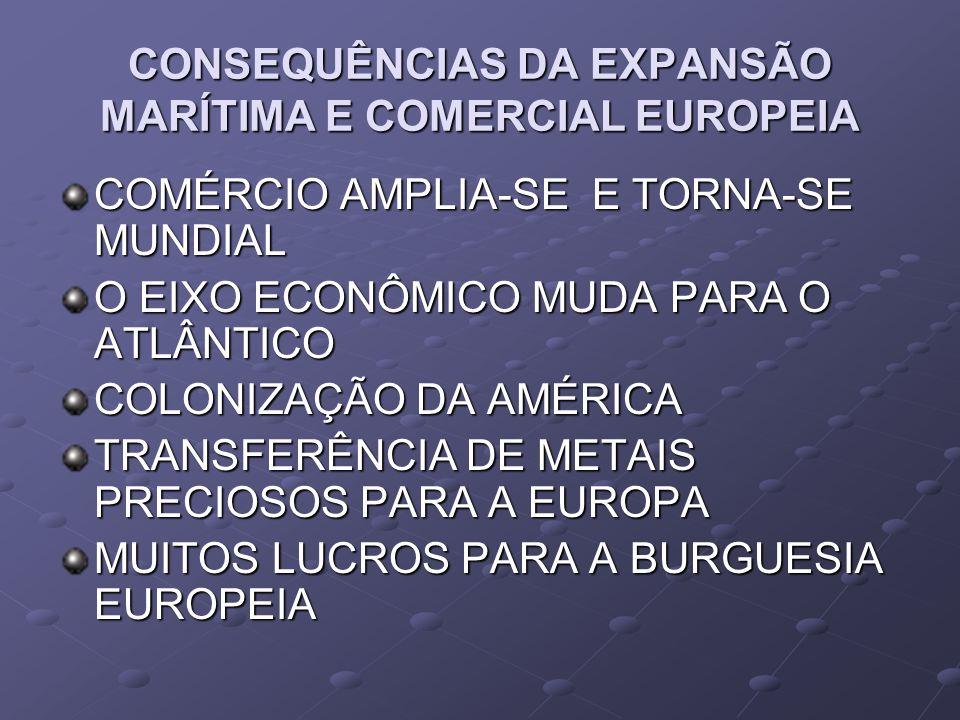 CONSEQUÊNCIAS DA EXPANSÃO MARÍTIMA E COMERCIAL EUROPEIA