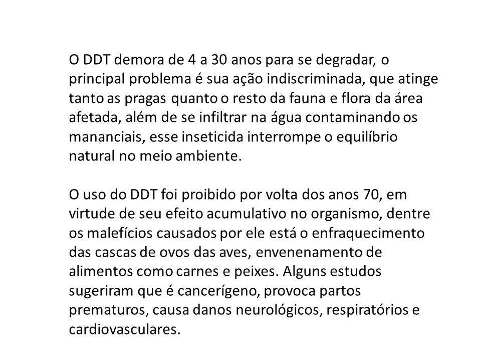 O DDT demora de 4 a 30 anos para se degradar, o principal problema é sua ação indiscriminada, que atinge tanto as pragas quanto o resto da fauna e flora da área afetada, além de se infiltrar na água contaminando os mananciais, esse inseticida interrompe o equilíbrio natural no meio ambiente.