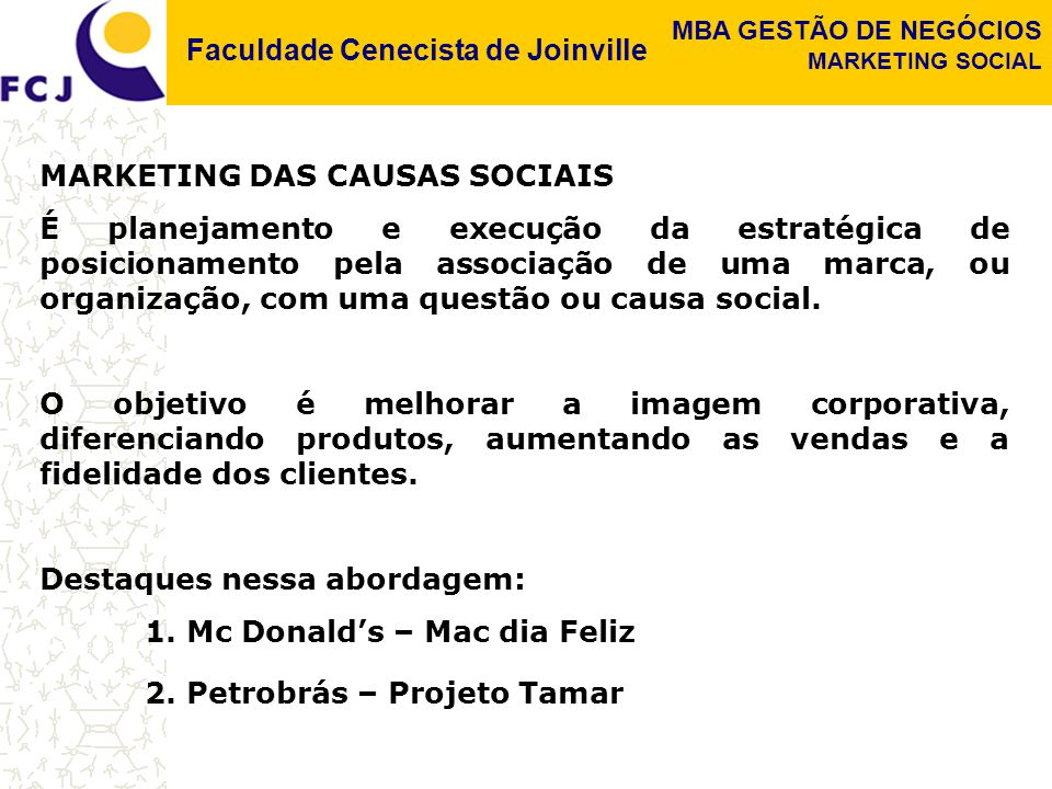 MARKETING DAS CAUSAS SOCIAIS