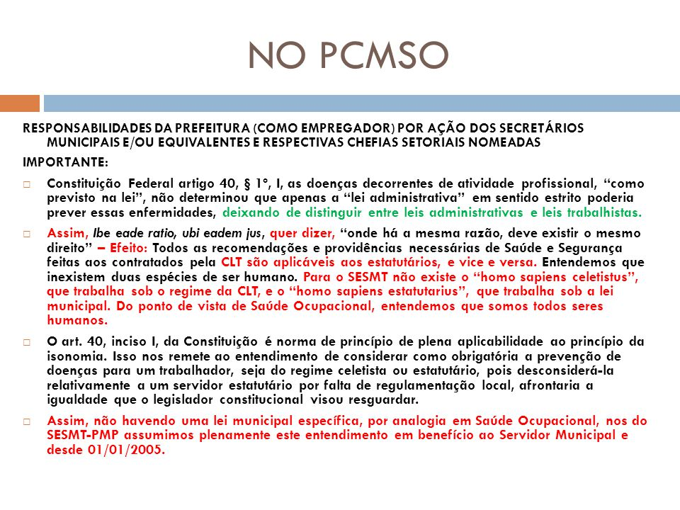 NO PCMSO