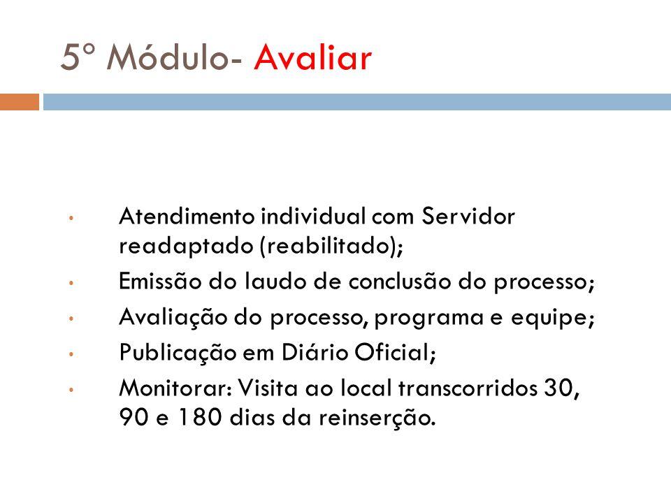5º Módulo- Avaliar Atendimento individual com Servidor readaptado (reabilitado); Emissão do laudo de conclusão do processo;