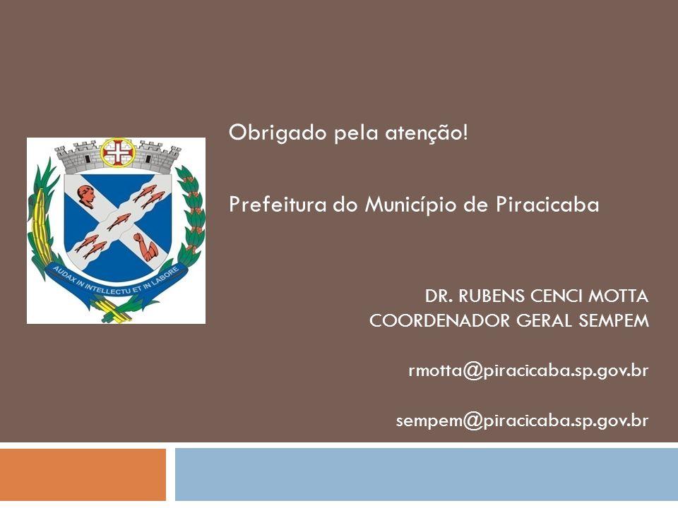 Obrigado pela atenção! Prefeitura do Município de Piracicaba