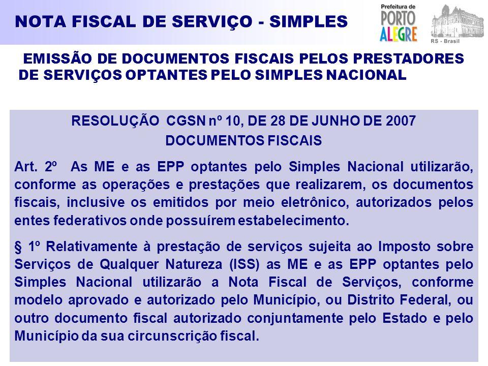 NOTA FISCAL DE SERVIÇO - SIMPLES