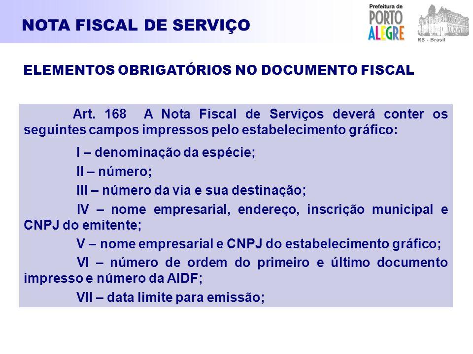 NOTA FISCAL DE SERVIÇO ELEMENTOS OBRIGATÓRIOS NO DOCUMENTO FISCAL