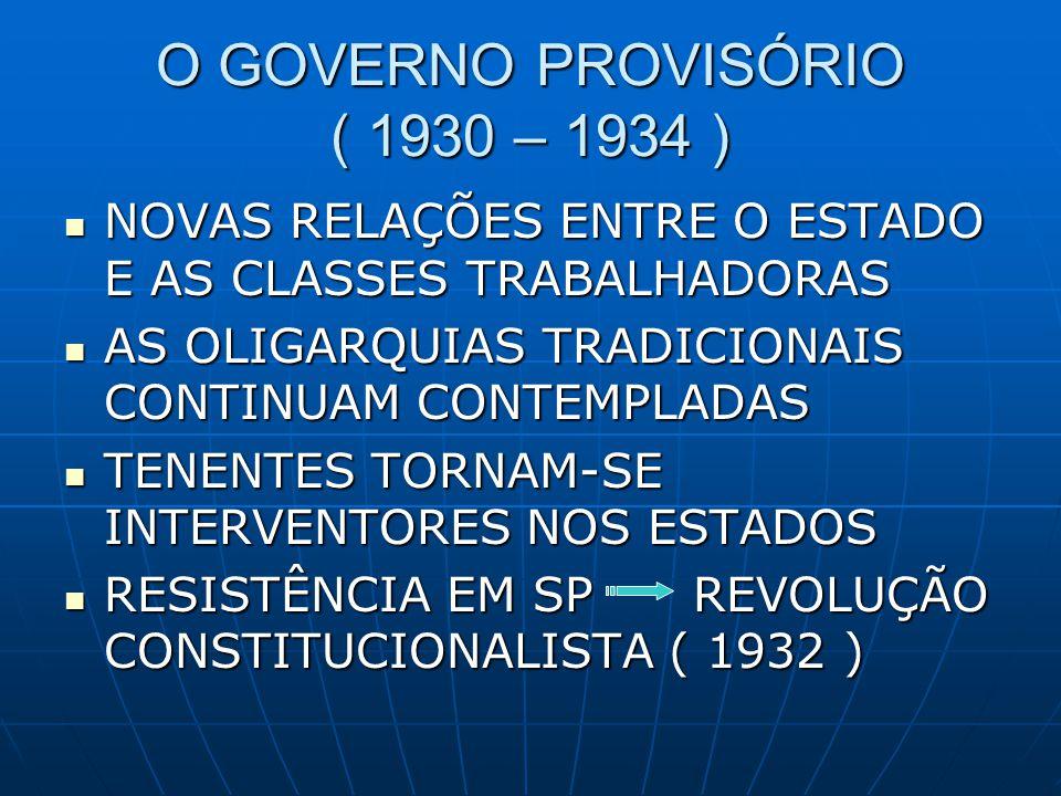 O GOVERNO PROVISÓRIO ( 1930 – 1934 )