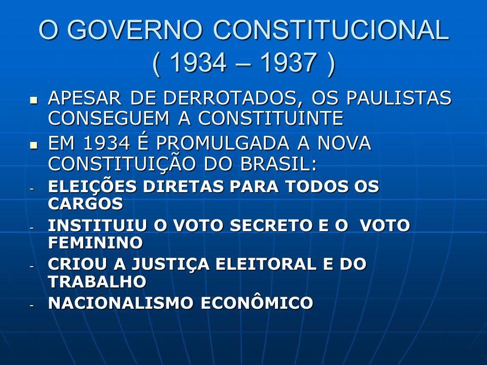 O GOVERNO CONSTITUCIONAL ( 1934 – 1937 )