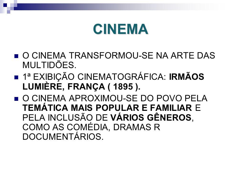 CINEMA O CINEMA TRANSFORMOU-SE NA ARTE DAS MULTIDÕES.
