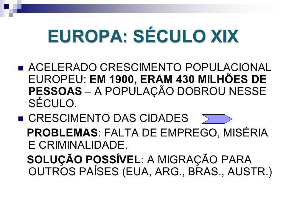 EUROPA: SÉCULO XIX ACELERADO CRESCIMENTO POPULACIONAL EUROPEU: EM 1900, ERAM 430 MILHÕES DE PESSOAS – A POPULAÇÃO DOBROU NESSE SÉCULO.